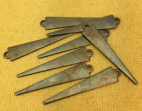 Hand Antiqued Triangle Spike Charms - 8 Pieces