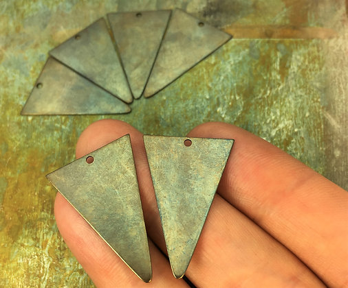 29mm Brass Triangle Charms - 6 Pieces