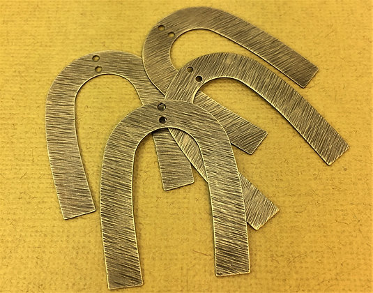 U Shaped Textured & Polished Brass Charms - 4 Pieces
