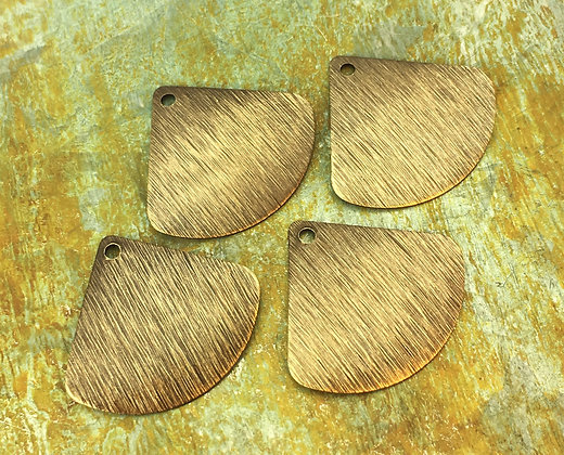 Textured Fan Charms - Antiqued & Polished - 4 Pieces