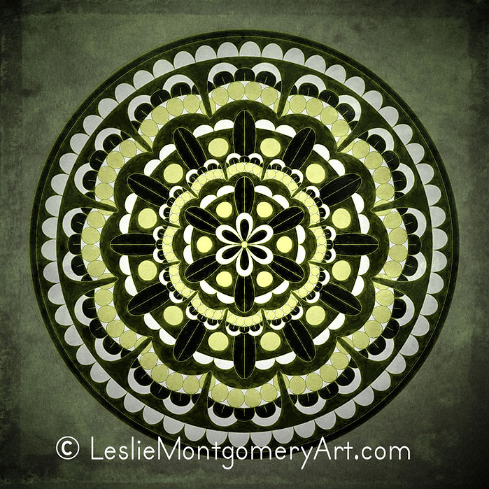 'Mandala - A Celebration Of Green' by Leslie Montgomery