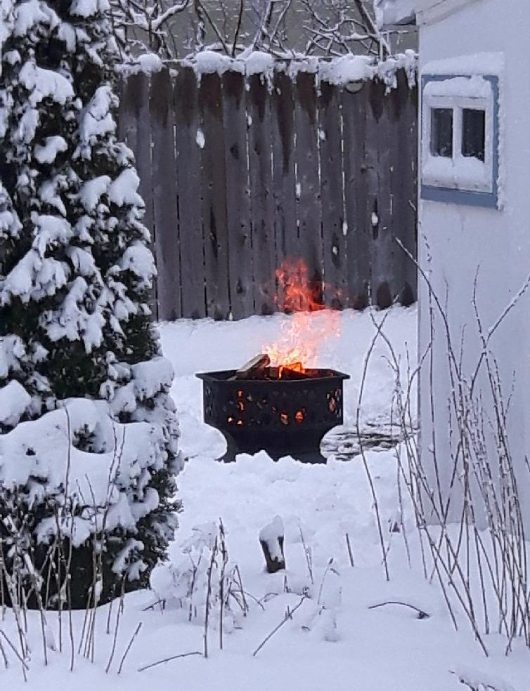 A fire burning on this  snowy Christmas Day in our yard.
