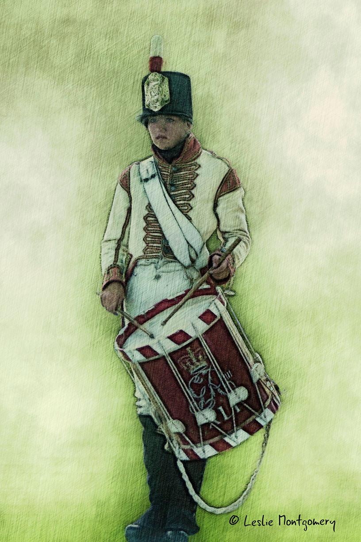 War of 1812 Redcoat drummer Fort George reenactment
