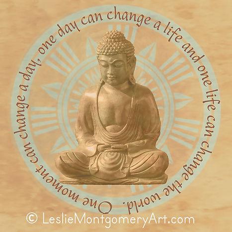 'Buddha - Change The World - Mandala' by Leslie Montgomery