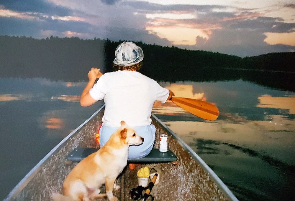 Me & Shadow in the canoe somewhere in Algonquin Park