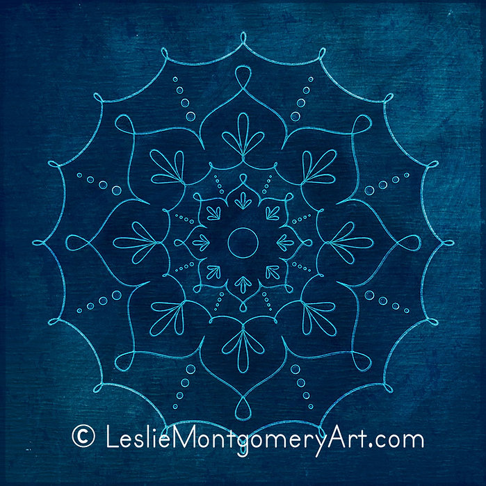 'Chalky Swirls In Blue Mandala' by Leslie Montgomery