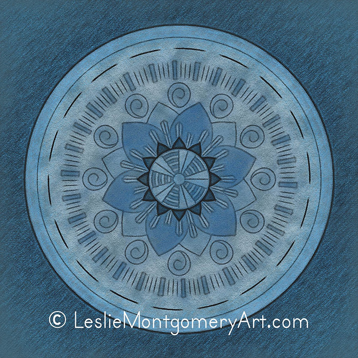 'Blue On Blue Mandala Solid' by Leslie Montgomery