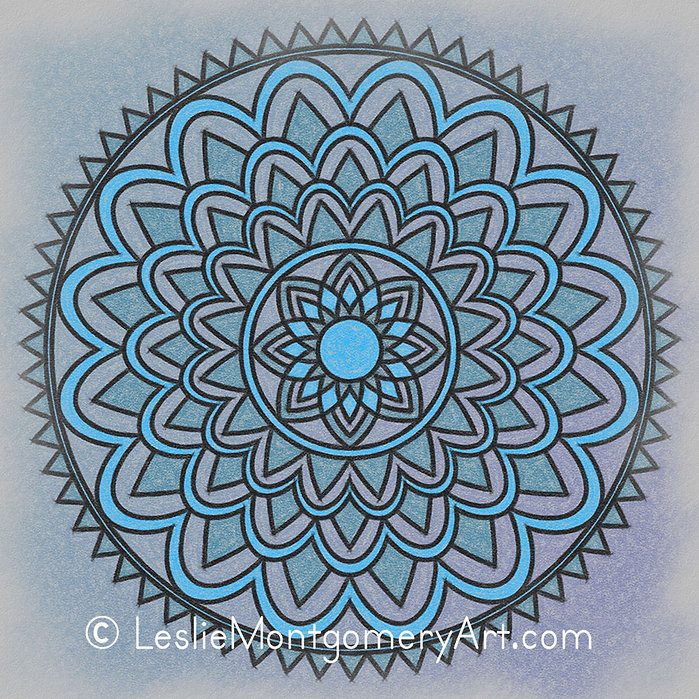 'Electric Blue Sun Mandala' by Leslie Montgomery