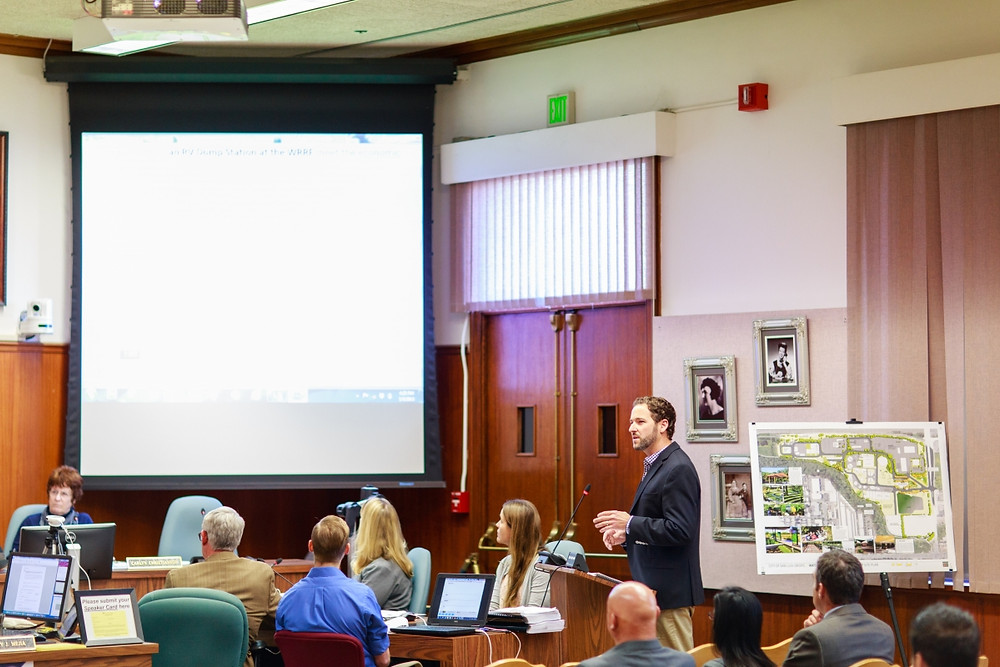 Jeff Szytel presenting the planned interpretive center and public elements to City Council at the Triple Bottom Line Evaluation