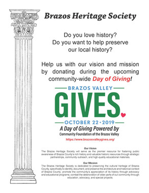 Brazos Heritage Society participating in the 1st Annual Brazos Valley Gives campaign