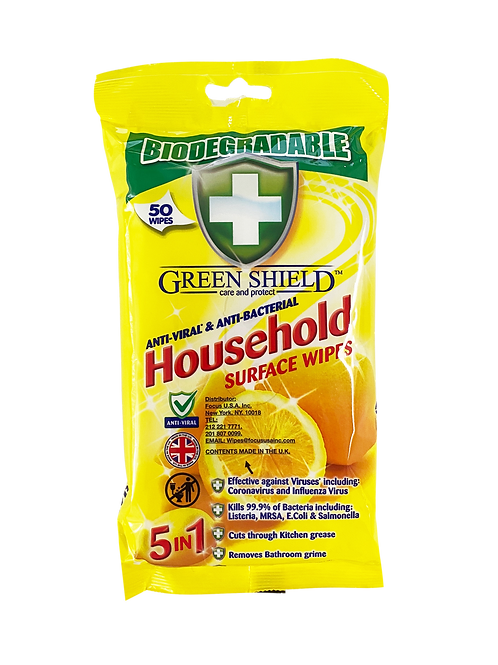 GREEN SHIELD Anti-Bacterial Household Surface Wipes Biodegradable