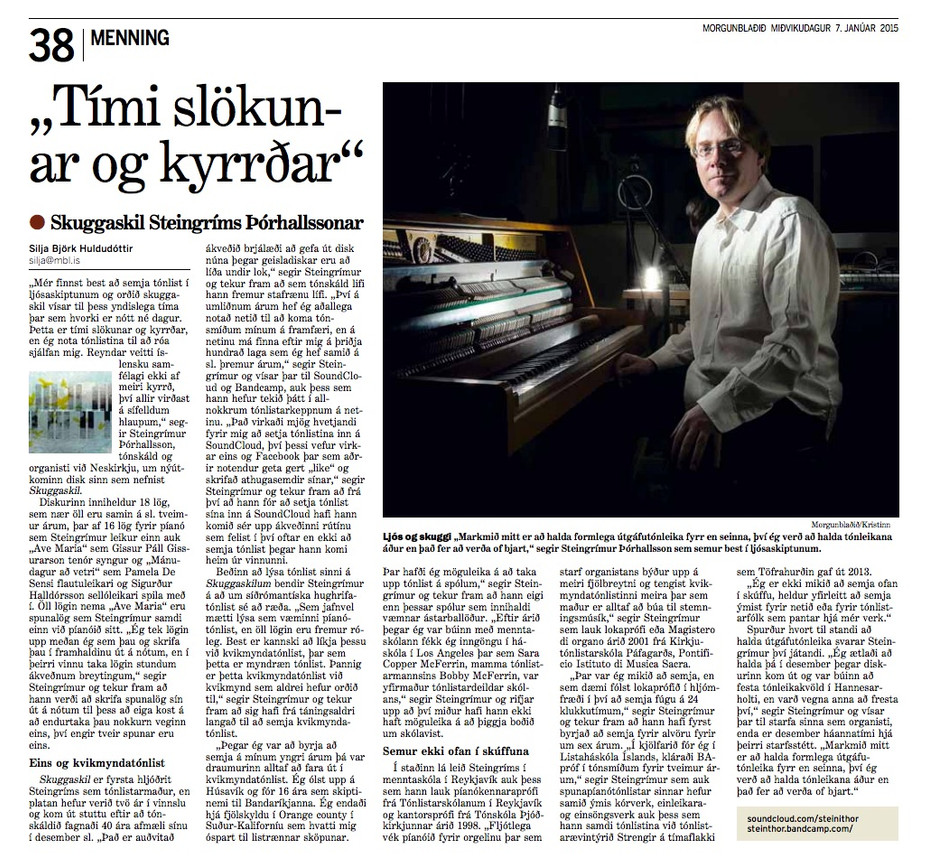 A nice article about my new cd, Skuggaskil.