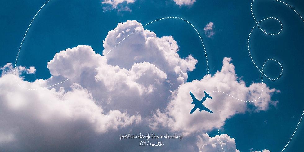 flugzeug süden postkarte south urlaub wolken himmel