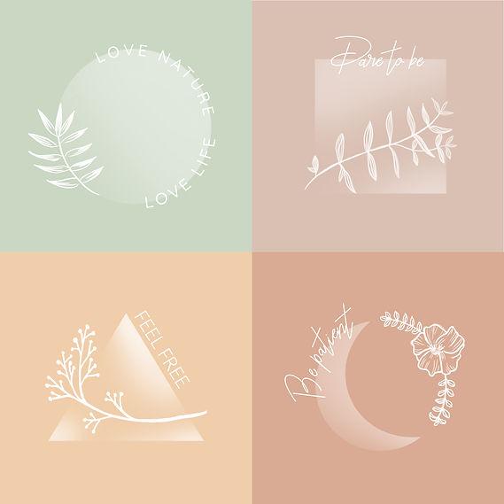 floral logos elegant minimal pastel