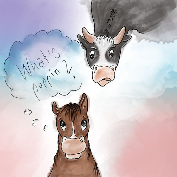 horse and cow illustration watercolor