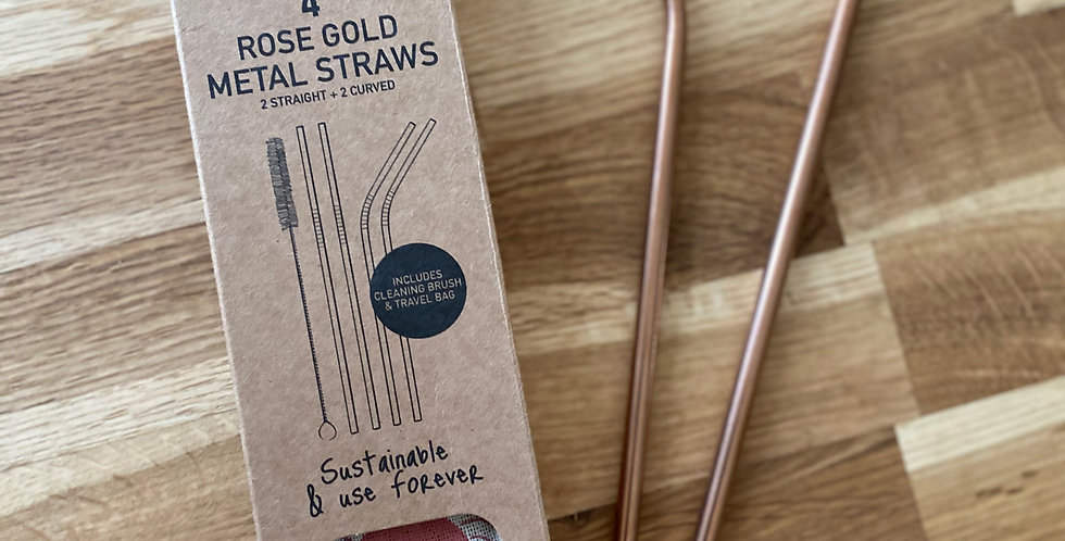 4 - ROSE GOLD METAL STRAWS