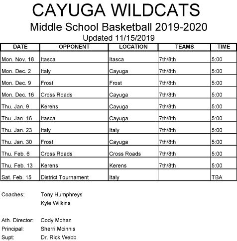 2019-2020 BASKETBALL SCHEDULE MS updated