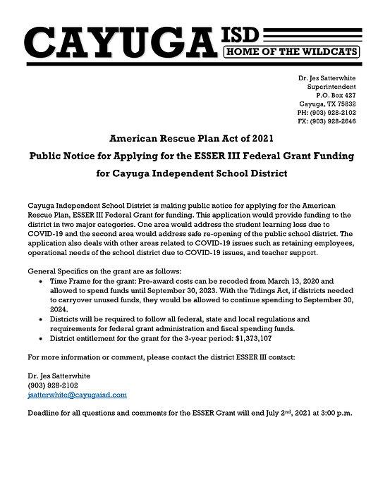 Public Notice to Apply for ESSER Grant C