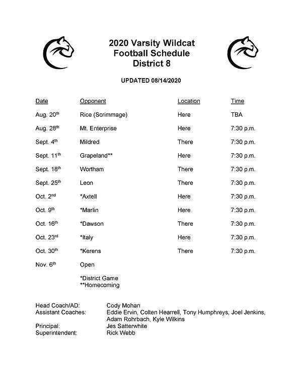 2020 Varsity football schedule updated.j
