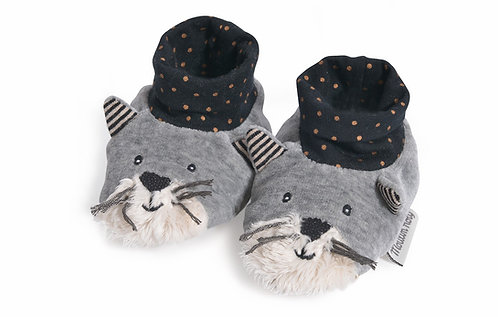 CHAUSSONS CHAT GRIS