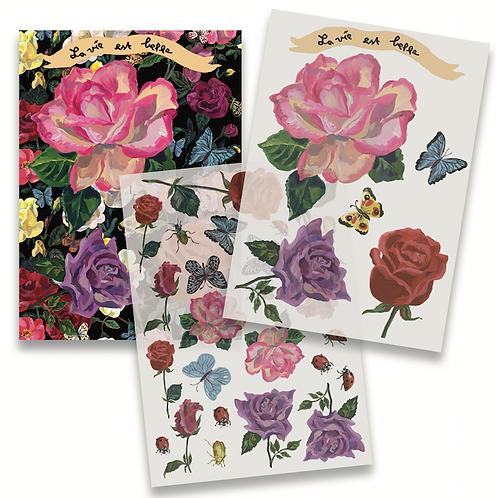 2 CARTES TRANSFERT GARDEN OF FLOWERS