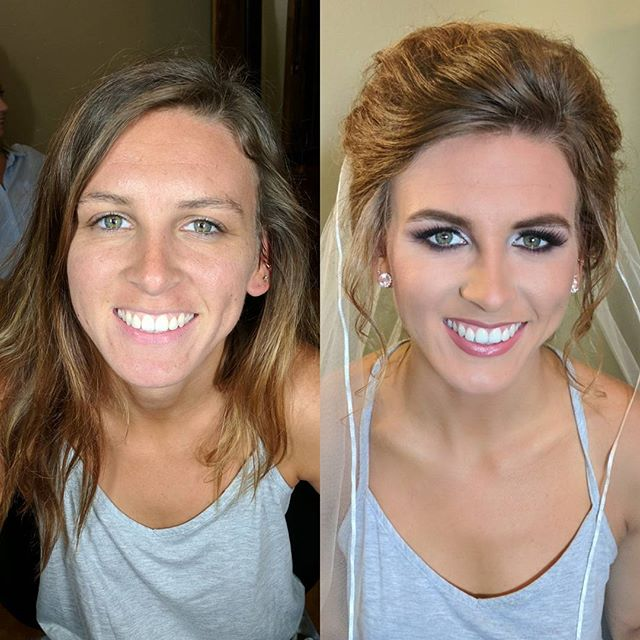 Before and after of my STUNNING bride from yesterday!! ._._