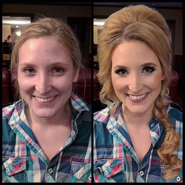 Take a look at this beautiful before and after!! Big fun hair style!! #makeupbypaigeb #makeup #befor