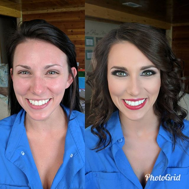 How gorgeous is my friend_! Before and after for a wedding today! Smokey eye and red lip to go with