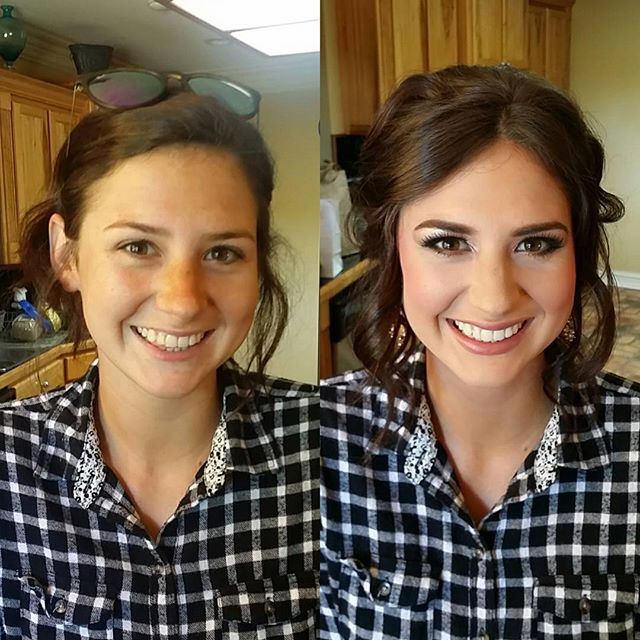 Gorgeous before and gorgeous after! Hair and makeup for prom!! #hairbypaigeb #makeupbypaigeb #before