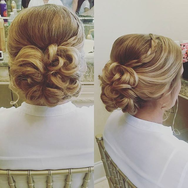 Fun updo with a  small braid for the MOH! #hairbypaigeb #hair #updo #moh #maidofhonor #mohhair #brai