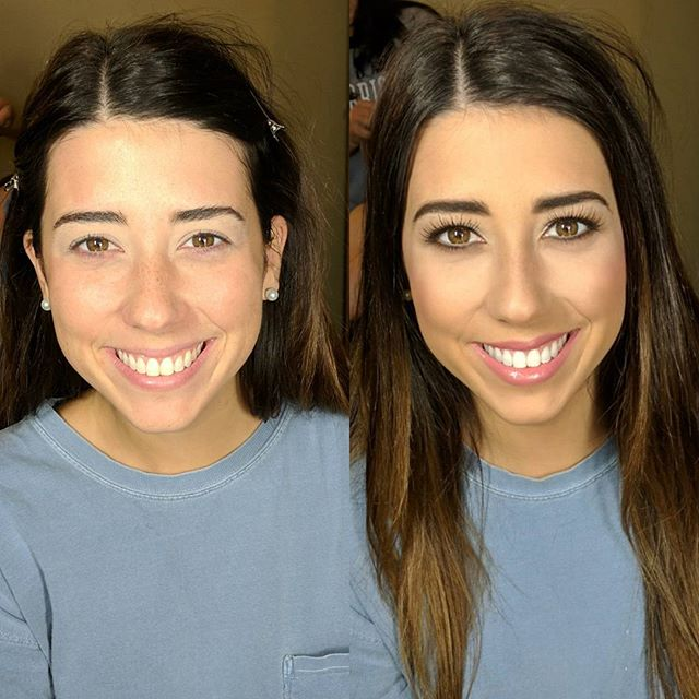 Bridesmaid makeup before and after!! She was naturally beautiful!! ._._._