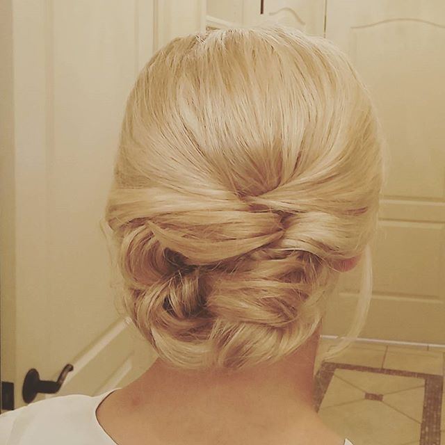 Bridal hair for the beautiful Aimee!! Classy low updo! #hairbypaigeb #hair #updo #bridalhair #bride