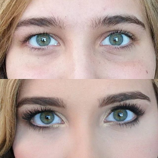 Check out the difference a little brow clean up makes!! Her green eyes are beautiful!!_._._
