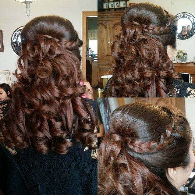 Bridesmaid hair!  Gorgeous half up half down with a braid!! #hairbypaigeb #bridesmaidhair #hair #hal