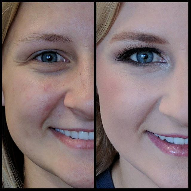 Close up of a before and after using picture perfect foundation in P2 for highlight and Y5 for found