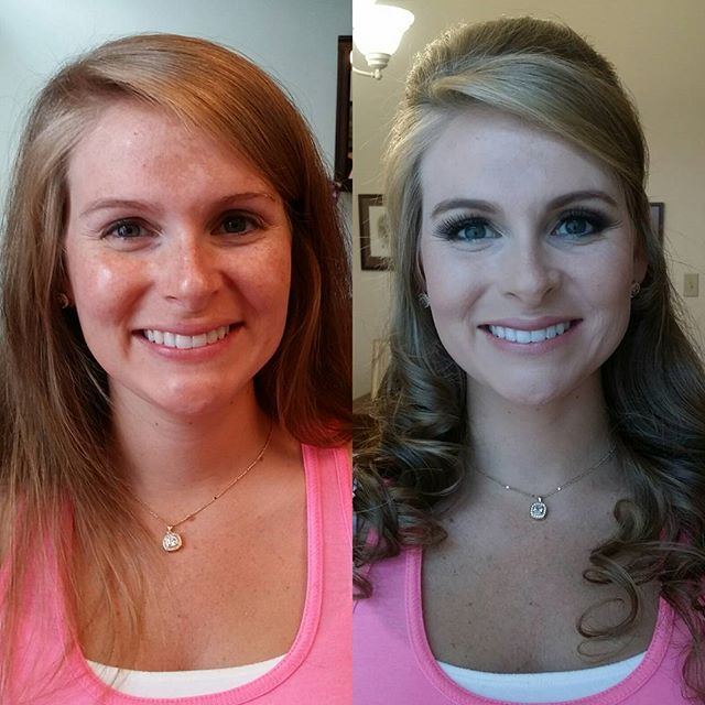 She is beautiful before and after! Her only request was to cover her freckles! Bridesmaid hair and m
