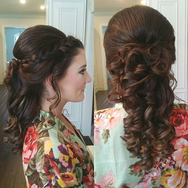 Bridesmaid hair! #hairbypaigeb #hair #bridesmaidhair #braid #halfuphalfdown #bridesmaid