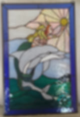 Mermaid & Dolphin - unlit glass