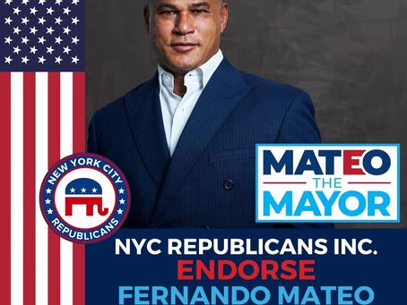 NYC REPUBLICANS ENDORSE FERNANDO MATEO FOR MAYOR