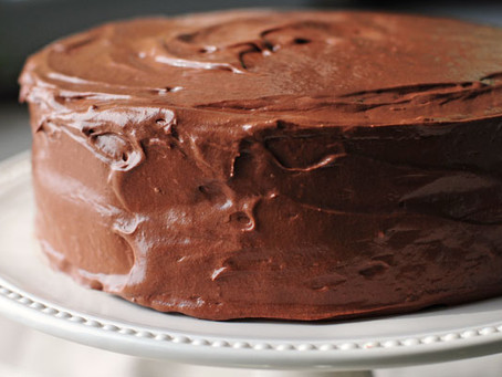 Healthier chocolate cake with avocado frosting