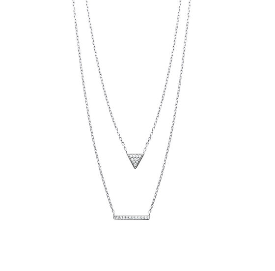 COLLIER ARGENT DOUBLE RANGS TRIANGLE ET BARRETTE