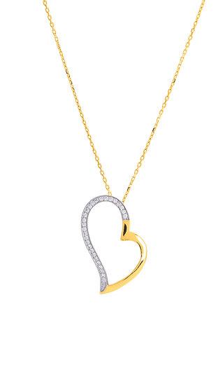 Collier bicolore motif coeur oxyde de zirconium