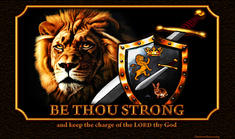 Be strong Christian sword shield lion