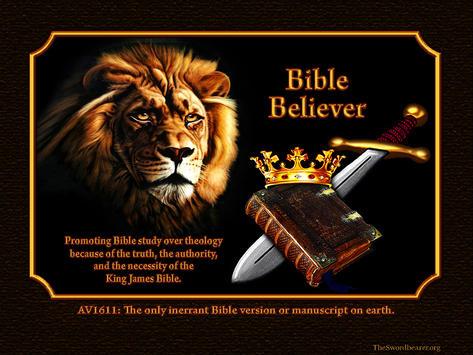 Bible believer sword crown lion