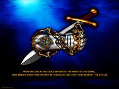 Christian warrior's gauntlet and sword