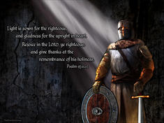 Christian warrior with armor and rays of light