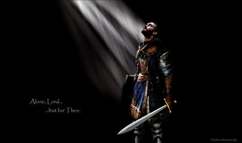 Light rays Christian warrior