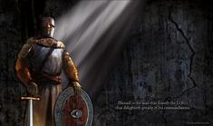 Light rays Christian warrior sword shield