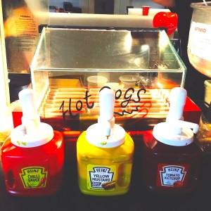 hotdog food stall w/ ketchup