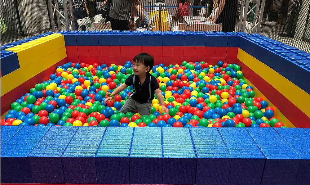 colourful ball pit inside a mall